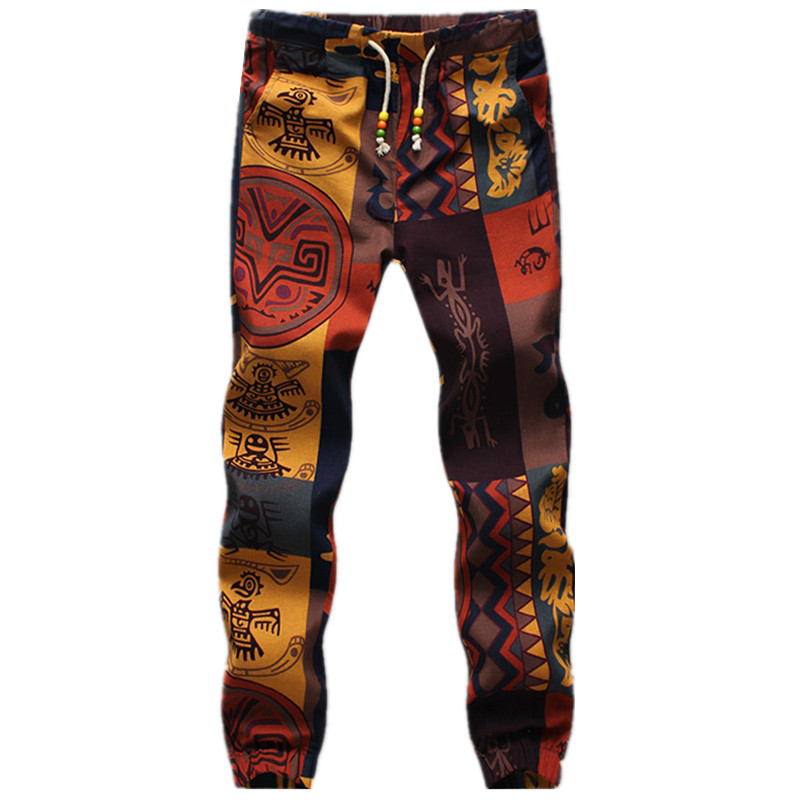 2018 Ethnic Style Men's Fashion Linen Sweatpants Long Pants Flower Print Slim Casual Pattern Pants Man Beam Foot Trousers Jogger