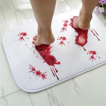цена на Bathmat Scare Your Friends Bloody Footprint Bath Bathroom Mat Non-slip Rug Bath Mats Useful