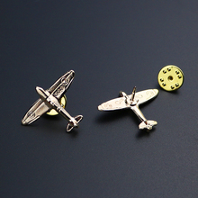 1 Pair of Delicate Airplane Shirt Collar Tip Pins Brooches Small Gold Enamel Plane Brooches Women Men Costumes Aircraft Brooch pair of delicate pentagram earrings for men