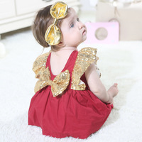 Baby Girl Clothes Bow Bodysuits Beautiful Summer Baby bodysuit with Sequins Small Flying Sleeve Crawl Suit Baby
