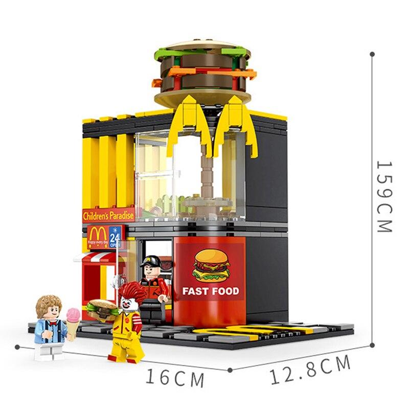 Compatible con Legoinglyes ciudad vista a la calle 7-11 Mcdonald de fideos restaurante café tienda Apple Bar bloques de construcción ladrillos de juguete de regalo