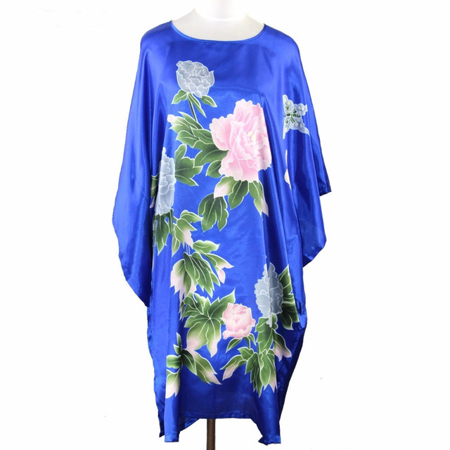 Blue Painting Chinese Women's Silk Rayon Robe Gown Nightgown Yukata Flower One Size Free Shipping S5004
