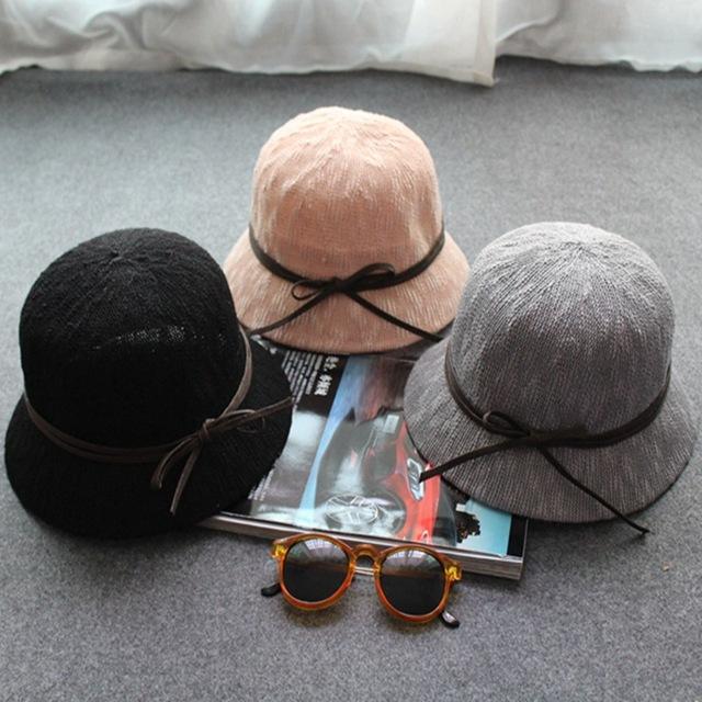 Envío de la gota creativo cubo sombrero de punto multi de los colores de algodón de lino bowknot delicado verano de las mujeres sombrero del cubo sombrero de vacaciones