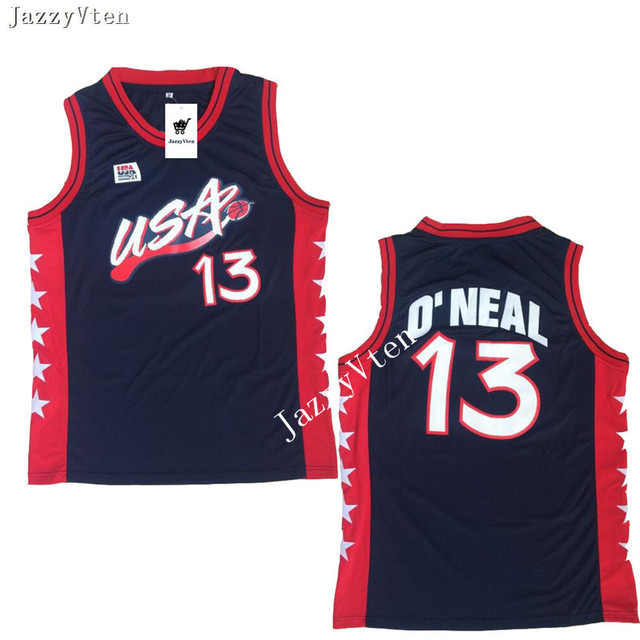 finest selection 59425 97c3c Retro Throwback Stitched Men's Shaquille O'Neal #13 Miller 10 Grant Hill 5  Scottie Pippen 8 1996 USA Basketball Jersey Shirt-in Basketball Jerseys ...