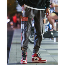 2019New Side Striped Cargo Patchwork Pants Mens Hip Hop Casual Camouflage Streetwear Joggers Sweatpants Man Trousers Fashion