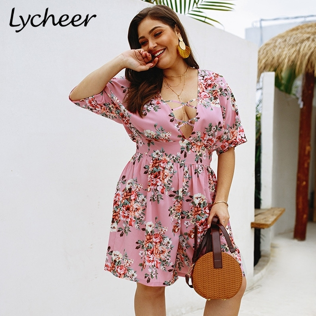 370c6c97fe US $13.49 46% OFF|Lycheer Plus size bohemian floral print women jumpsuit  romper Summer beach casual playsuit Sexy big size high waist boho  overall-in ...