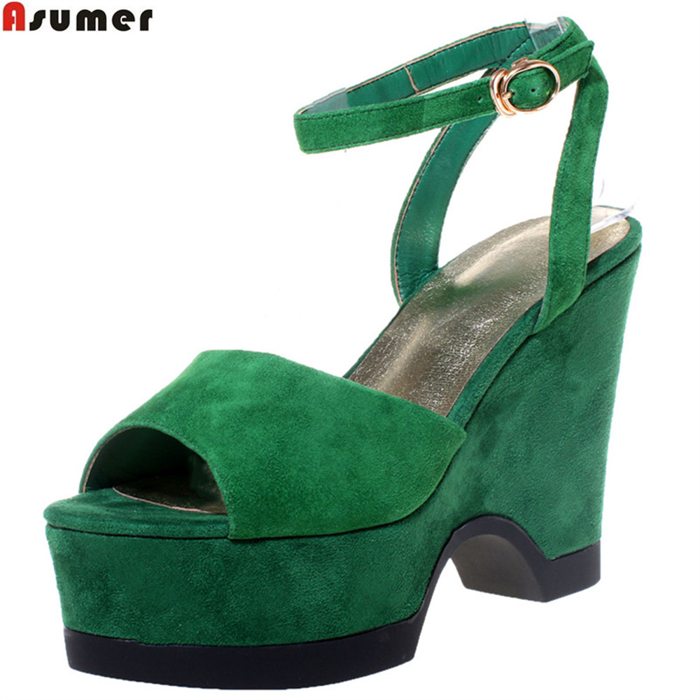 ASUMER black green fashion summer ladies shoes peep toe platform wedges shoes buckle women suede leather high heels sandals women sandals 2018 summer shoes woman flip flops wedges fashion platform female slides ladies shoes peep toe