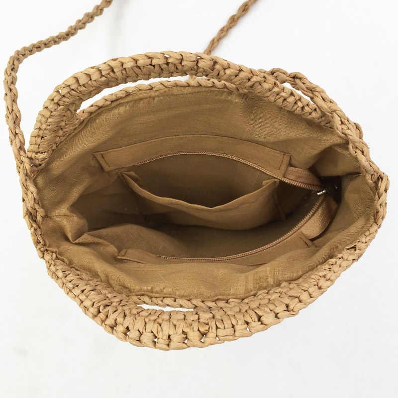 2019 sacos de palha redonda das mulheres verão rattan saco artesanal tecido praia crossbody saco círculo boemia bolsa bali feminino