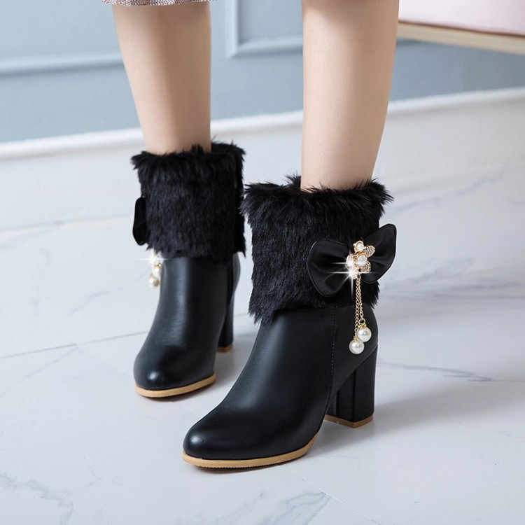 ... PXELENA Furry Rabbit Fur Women Wedding Boots White Black Butterfly-knot  Beads Square High Heels ... 55f51162c9e3