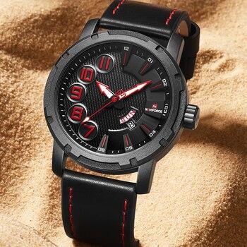 NAVIFORCE 9154 Men Watch Clock Male Leather Wristwatch Man Date Week Quartz Fashion with box