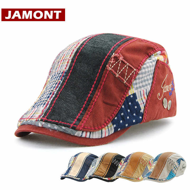 JAMONT  Fashion Visor Cap Men Women Beret Spring Autumn Bone Hats  Patchwork Striped Flat c29493ae81ab