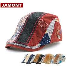 Visor-Cap Casquette Bone-Hats Flat-Caps Spring Patchwork Women Beret Striped JAMONT Fashion