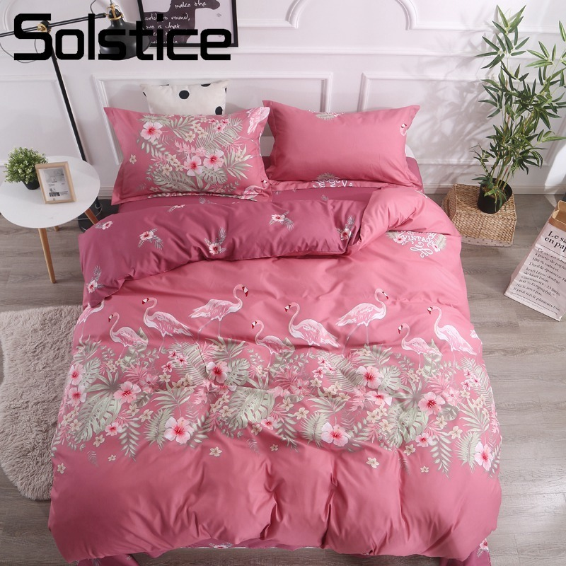 Solstice Home Textile Wine Red Flamingo Duvet Cover Bed Sheet Pillowcase Girl Teen Adult Woman Bedding Set Queen Twin Bedclothes