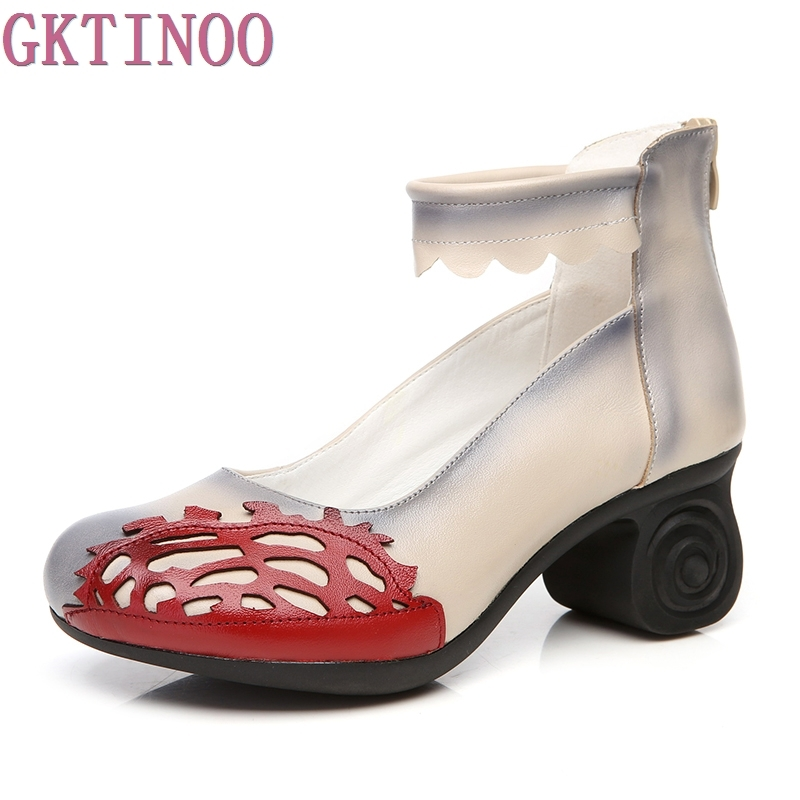 2019 Genuine Leather Women Shoes Spring Autumn Soft Thick Heel Women s Pumps Shallow Handmade Shoes
