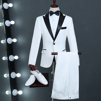 9f02d92e1886 2019 nuevo hombre clásico negro solapa blanco trajes escenario cantante  traje hombres último abrigo pantalones diseños Slim Fit esmoquin para los  ...