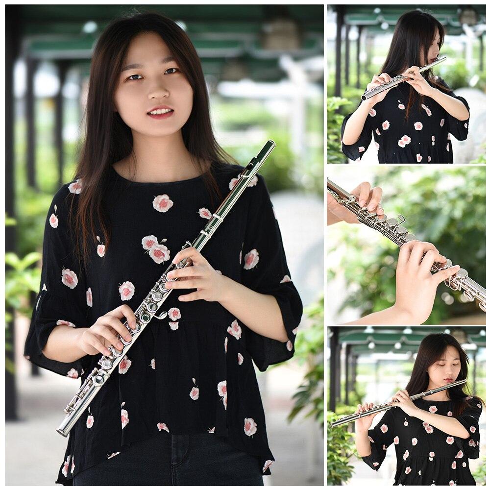 Flûte de Concert occidentale plaqué argent 16 trous C