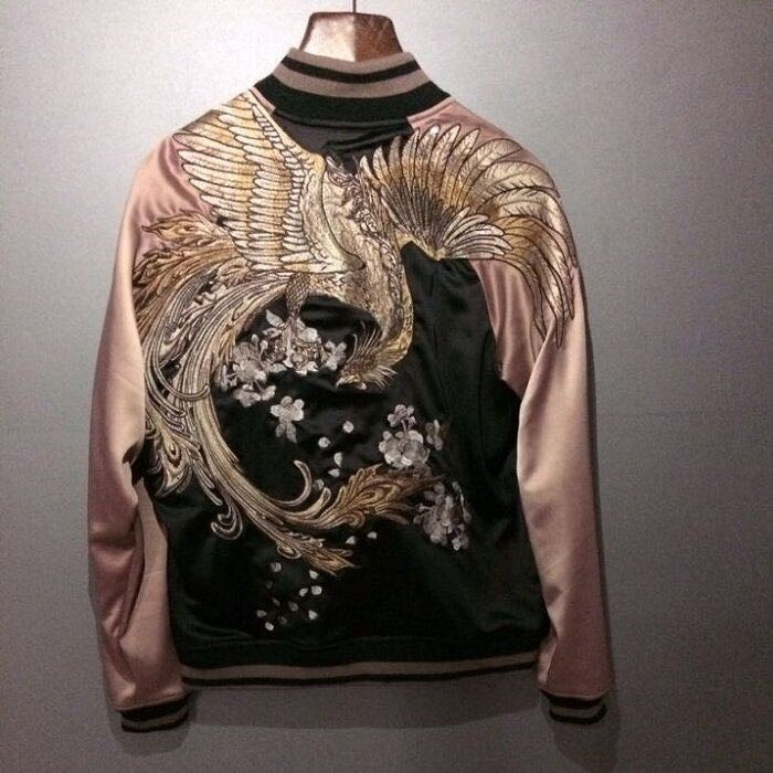 Mens Japanese Embroidered Sukajan Souvenir Flight Jacket Bomber Birds Coat Chic Men Jackets