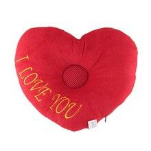 Practical Red Lover Heart Speaker Music Soft Travel Sleeping Pillow