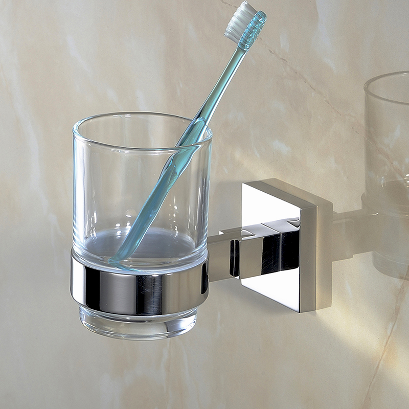 Bathroom Single Tumbler Glass Cup SUS 304 Stainless Steel Holder Smooth Mirror Surface Bathroom Toothbrush Holder chrome plated brass toothbrush toothpaste holder vintage glass cup single tumbler holders with 304 stainless steel and copper