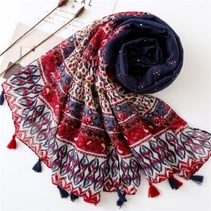 Image 4 - Женский шарф, шаль из Испании, этническая искусственная шаль, шарф из индийского этнического принта, шарф из пашмины, мусульманская искусственная шаль