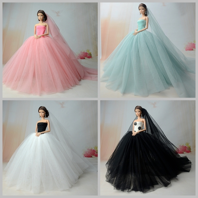 Doll Dresses Long Tail Evening Gown Wedding Dress +Veil For Barbie ...