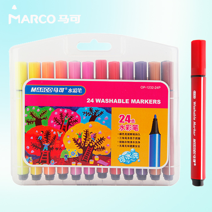 Marco Kids 12 18 24 Color Washable Markers Watercolor Pen Marker for ...