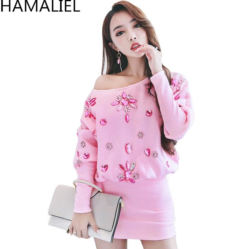 HAMALIEL Women Autumn Winter Party Sweater Dress 2018 Luxury Pink Loose Diamonds Beading Batwing Sleeve Knittint Pencil Dress