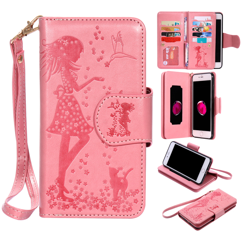 PU Leather Flip Wallet 9 Card Slots Girl Soft Phone Silicone Case Cover Shell Coque for Apple iPhone 5 5S SE 6 6G 6S 7 8 Plus X
