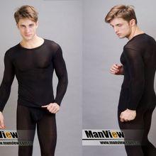 Men Long Johns Manview ice silk ultra-thin warm suit underwe