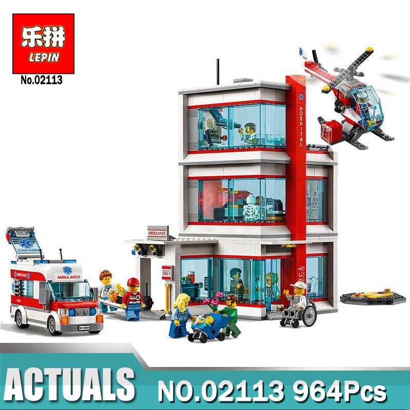 2018 New Lepin 02113 964Pcs City Hospital Sets Compatible legoINGLY 60204 Building Blocks Bricks DIY Model Kits Boy Toys Gift