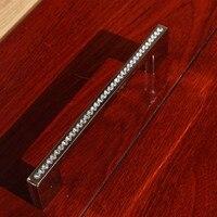 192mm de lujo de diamantes decoración de muebles manija de cristal k9 armario gabinete tirón oro plata manija armario vestidor 7.6