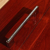 192mm luxury diamond furniture decoration handle k9 crystal wardrobe cabinet pull gold silver dresser cupboard handle 7.6