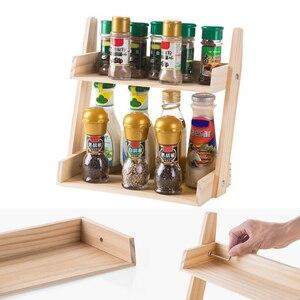 Image 4 - 多層キッチン調味料ラック木製大容量多機能耐久記憶カウンタースタンドハーブ瓶ホーム