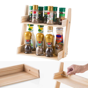 Image 4 - Multi layer Kitchen Condiment  Rack Wooden Large Capacity Multifunction Durable Storage Countertop Stand Herbs Jars Home