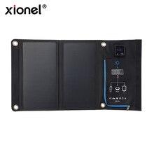 Xionel taşınabilir 15W katlanır su geçirmez güneş paneli şarj mobil güç bankası telefon pil için çift ekran USB portu açık