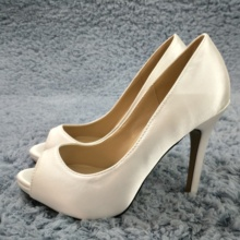 Women Stiletto Thin High Heel Pumps Sexy Peep Toe Ivory Satin Bridals Wedding Party Ball Lady Shoes T12 цены онлайн