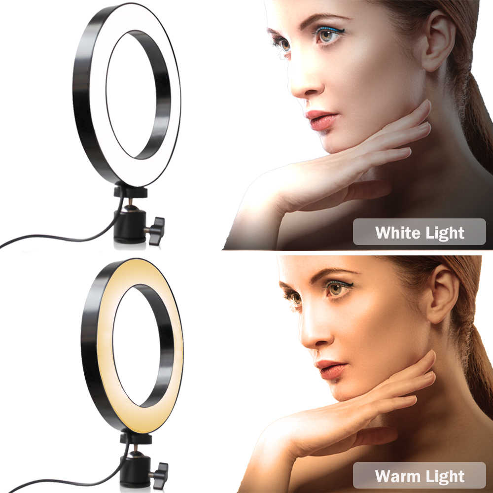 8'' 10'' LED Ring Light Dimmable Phone Video Lamp With 1M Selfie Stick Tripod for Makeup Beauty Selfie Portrait Fill Light Ring