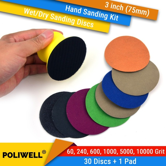 3 дюйма (75 мм), 60/240/600/1000/5000/10000 Grits, водонепроницаемые шлифовальные диски с липучкой, 3 дюйма, набор ручных шлифовальных дисков для влажной/сухой полировки