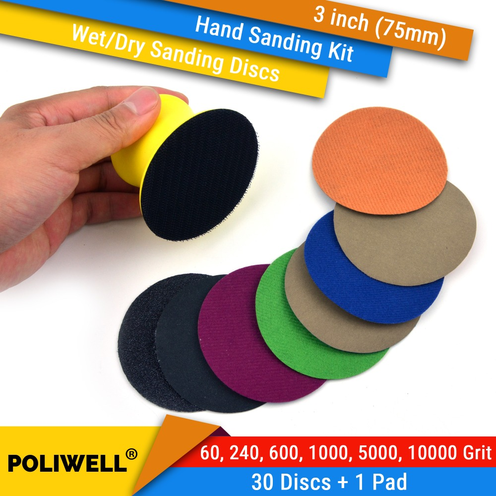 3 Inch (75mm) 60/240/600/1000/5000/10000 Grits Waterproof Hook&Loop Sanding Discs 3