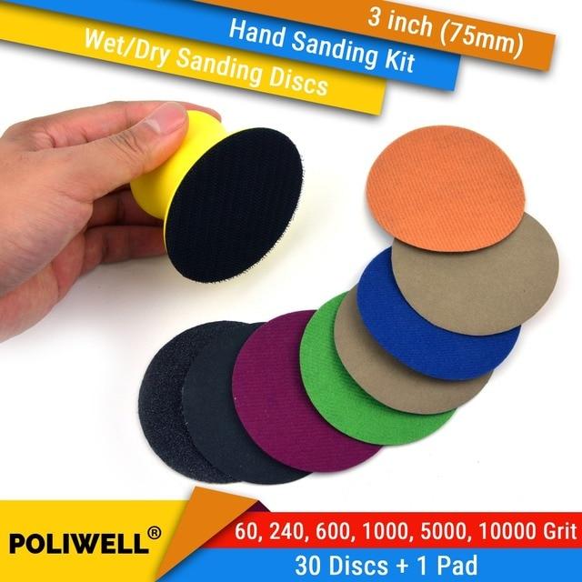 """3 zoll (75mm) 60/240/600/1000/5000/10000 grütze Wasserdicht Haken & Klettschleifscheiben 3"""" hand Schleif Pad Kit für Nass/Trocken Polieren"""