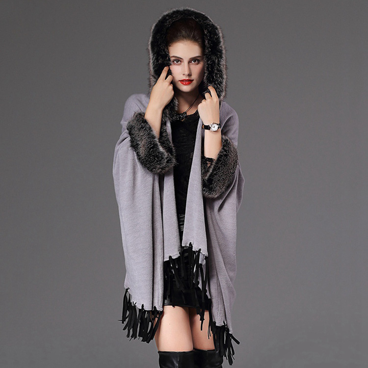 pashmina cashmere shawl ponchos and capes with fake fur hoody collar and tassels large women winter