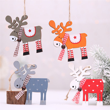 Christmas Ornaments Christmas Tree Decor Wood Painted Elk Pendant Xmas Party Decor Deer Pendants Christmas Decoration for Home