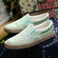 New Womens Flats Shoes 2016Casual Canvas Espadrilles Lace Upper Valentine Shoes Creepers Platform Shoes Thick Heel Loafers Women