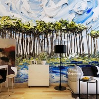 Free Shipping European Classical Oil Painting Flower Sea Living Room Bedroom Wallpaper 3D Custom Exhibition Office