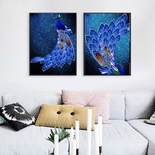 Blue Peacock Animals Canvas Painting Modular Wall Pictures for Living Room Modern Home Decoration Nordic Art Posters and Prints
