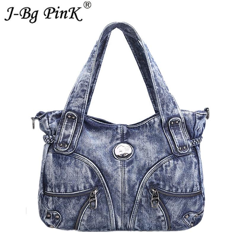 2018 New Fashion Luxury ladies denim handbag big shoulder bag blue jeans handbag Jean Denim Tote ladies shoulder bag