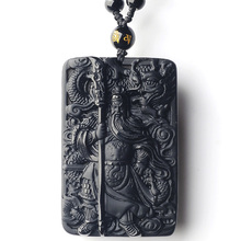 Natural Obsidian GuanGong Amulet Pendant Drop Shipping Lucky Crystal Guan Yu Necklace Wholesale Fine Jewelry Gift lace fish pendant gold inlaid yu pendant hetian carp necklace lucky yu pendant fashion fine jewelry