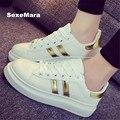 Zapatos de Los Hombres 2016 parejas nueva Marca zapatos de Lona Transpirable zapatos de Moda Casual zapatos de los Planos de color blanco negro Tamaño 35-40 superstar
