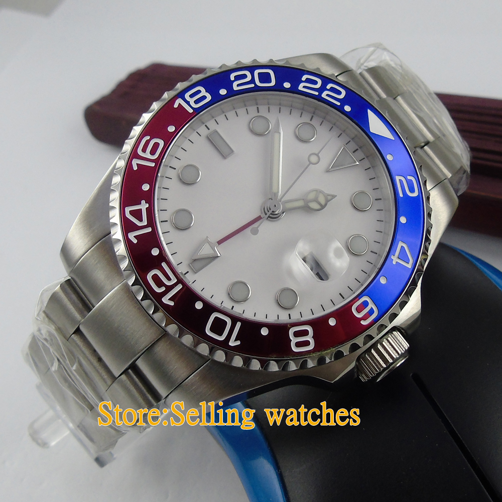 43mm white dial GMT date sapphire glass automatic mens watch p03