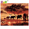 DPF Frameless Elephant Landscape Diy Painting Digital By Numbers Handmade Drawing Coloring On Canvas Wall Art